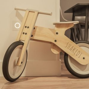Child balance bicycle wooden toy interior render