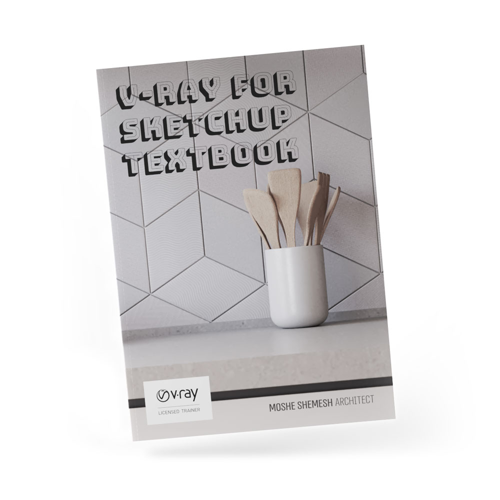 V-Ray for SketchUp Textbook main cover book tilted white background