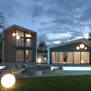 Moshe Villa exterior render with plants and trees