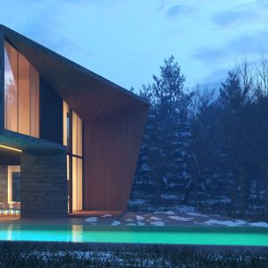 Exterior night render of a villa made of concrete